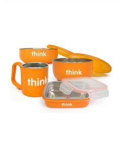 Thinkbaby寶寶不銹鋼雙層隔熱密封兒童餐具4件套 -橘色