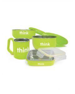 Thinkbaby寶寶不銹鋼雙層隔熱密封兒童餐具4件套-綠色