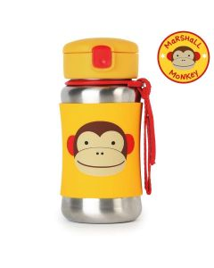 Skip Hop Zoo Stainless Steel Straw Bottle - Monkey 12 oz.