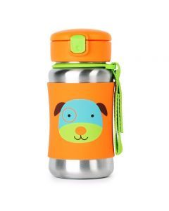 Skip Hop Zoo Stainless Steel Straw Bottle - Dog 12 oz.