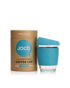 JOCO 可重複使用的玻璃咖啡杯 in Blue 12oz