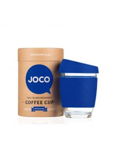 JOCO 可重複使用的玻璃咖啡杯 in Cobalt Blue 12oz