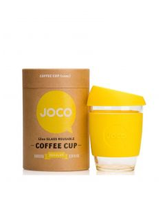 JOCO 可重複使用的玻璃咖啡杯 in Lemon 12oz