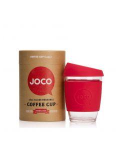 JOCO 可重複使用的玻璃咖啡杯 in Red 12oz