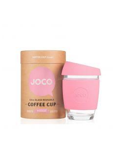 JOCO 可重複使用的玻璃咖啡杯 in Strawberry Pink 12oz