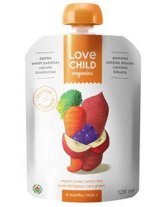 Love Child 有機果泥(蘋果,紅薯,胡蘿蔔和藍莓),125毫升無麩質