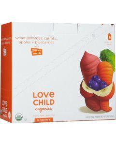 Love Child 有機果泥(蘋果,紅薯,胡蘿蔔和藍莓)125毫升無麩質(6包裝)