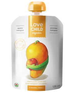 Love Child 有機果泥(蘋果和芒果),125毫升無麩質(6包裝)
