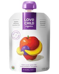 Love Child 有機果泥(蘋果,香蕉和藍莓)125毫升無麩質(6包裝)