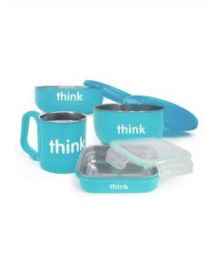 Thinkbaby寶寶不銹鋼雙層隔熱密封兒童餐具4件套 -藍色