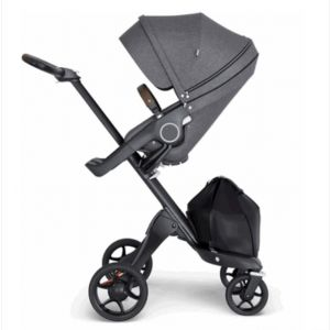 Stokke Xplory Stroller Black Chassis With Brown Handle V6 - Black Melange