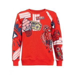 Kenzo Kids Girls Orange Cotton Sweatshirt - 4A