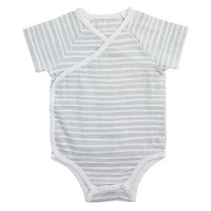 Aden & Anais Short Sleeve Kimono Body Suit - Grey Stripe (3-6m)
