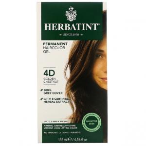 意大利Herbatint天然植物染发剂 4D-金栗色 40余年无氨植物染发专家 孕妇可用