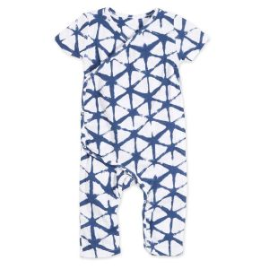 Aden & Anais Short Sleeve Kimono One-Piece - Cubic Indigo Shibori (3-6m)