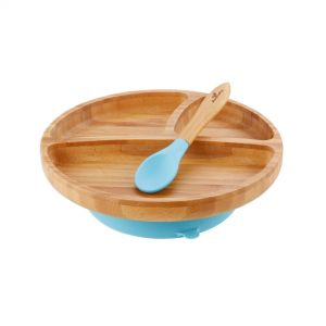Avanchy Toddler Bamboo Stay Put Suction Divided Plate & Spoon Blue