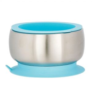 Avanchy Stainless Steel Stay Put Suction Bowl Blue