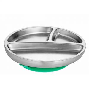 Avanchy Stay Put Toddler Stainless Suction Plate Green