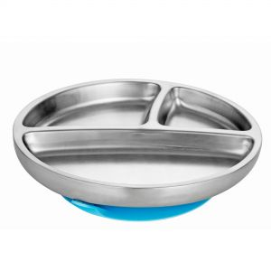 Avanchy Stay Put Toddler Stainless Suction Plate Blue