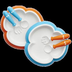 BabyBjorn Baby Plate Spoon & Fork-Orange/Turquoise 2pack