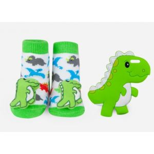 Waddle Baby Rattle Sock & Silly Chew Teether Gift Set 0-12m - Dinosaur