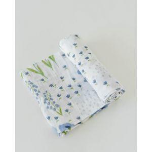 Little Unicorn Organic Cotton Muslin Swaddle Single Blue Windflower