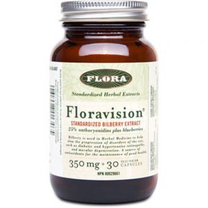 Flora Floravision 350mg 30Capsules Standarized Bilberry Extract