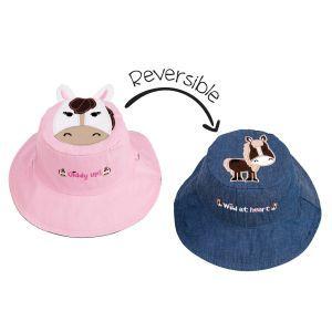 Flapjackkids Reversible Kids Sun Hat - Pony/Horse - 6M-2Y