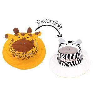 Flapjackkids Reversible Kids Sun Hat - Giraffe/Zebra - 4Y-6Y