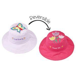 Flapjackkids Reversible Kids Sun Hat - Butterfly/Flower - 6M-2Y