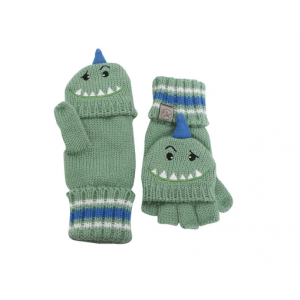 FlapjackKids Knitted Fingerless Gloves with Mitten Flap - Dinosaur Large (4-6Yrs)