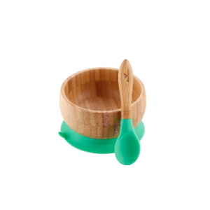 Avanchy Baby Bamboo Stay Put Suction Bowl & Spoon - Green