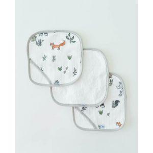 Little Unicorn Cotton Wash Cloth 3 Pack Forest Friends