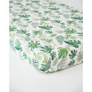 Little Unicorn Cotton Muslin Crib Sheet Tropical Leaf