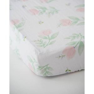 Little Unicorn Cotton Muslin Crib Sheet Pink Peony