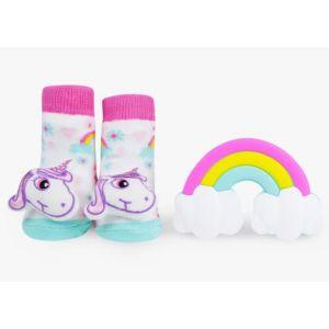 Waddle Baby Rattle Sock & Silly Chew Teether Gift Set 0-12m - Unicorn
