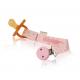 Hevea Natural Pacifier Holder Pink Organic